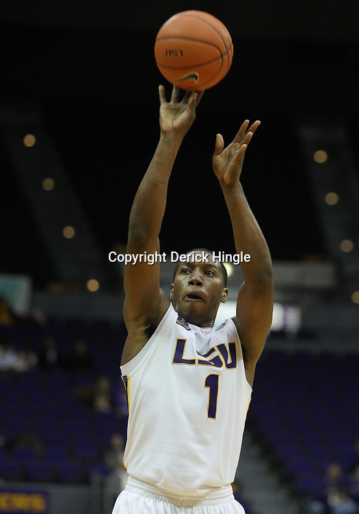 Jan 04, 2010; Baton Rouge, LA, USA;  LSU Tigers forward Tasmin Mitchell (1)shoots the ball during a game against the McNeese State Cowboys at the Pete Maravich Assembly Center. LSU defeated McNeese State 83-60.  Mandatory Credit: Derick E. Hingle-US PRESSWIRE