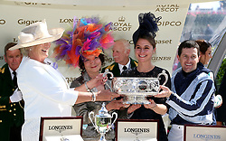 Jockey Colm O'Donoghue and trainer Jessica Harrington after winning the Coronation Stakes with Alpha Centauri during day four of Royal Ascot at Ascot Racecourse.