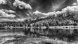 The main lake at Klondike Park in Black and White
