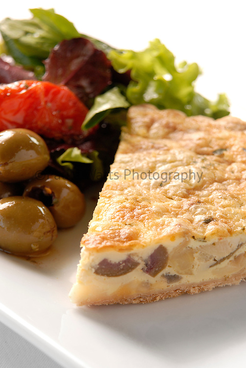 Healthy quiche with greek salad for lunch option