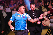 Gerwyn Price walk on during the 2018 Grand Slam of Darts at Aldersley Leisure Village, Wolverhampton, United Kingdom on 16 November 2018. Picture by Shane Healey.