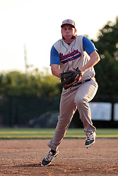 27 June 2014:   Jarryd Farrell during a Mens Professional Fastpitch Softball game between the Central Illinois Knights from Villa Grove and the Bloomington Stix from Bloomington, played at O'Neil Park in Bloomington, Illinois