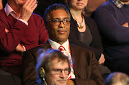 Boxing Legend Michael Watson watching from the crowd .Ronnie O'Sullivan v Liang Wenbo, 1st round match at the Dafabet Masters Snooker 2017, day 1 at Alexandra Palace in London on Sunday 15th January 2017.<br /> pic by John Patrick Fletcher, Andrew Orchard sports photography.