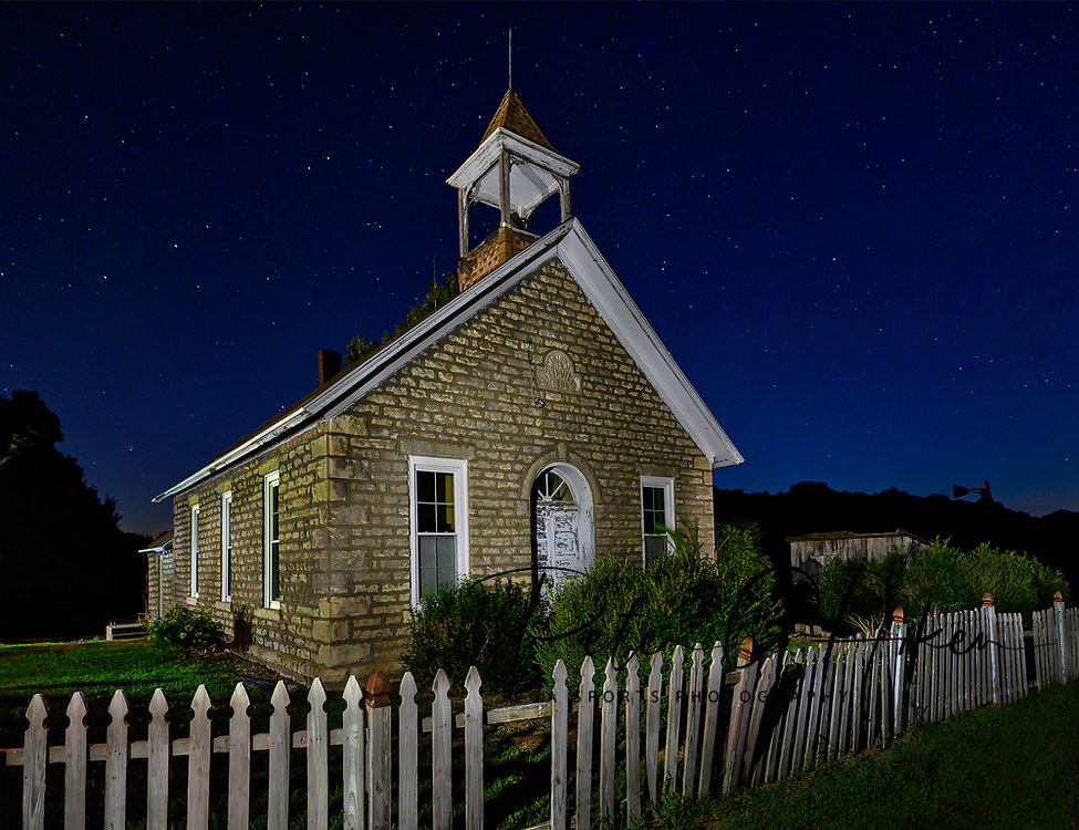 The Hinerville Schoolhouse, built in 1898, near Alma Kansas.