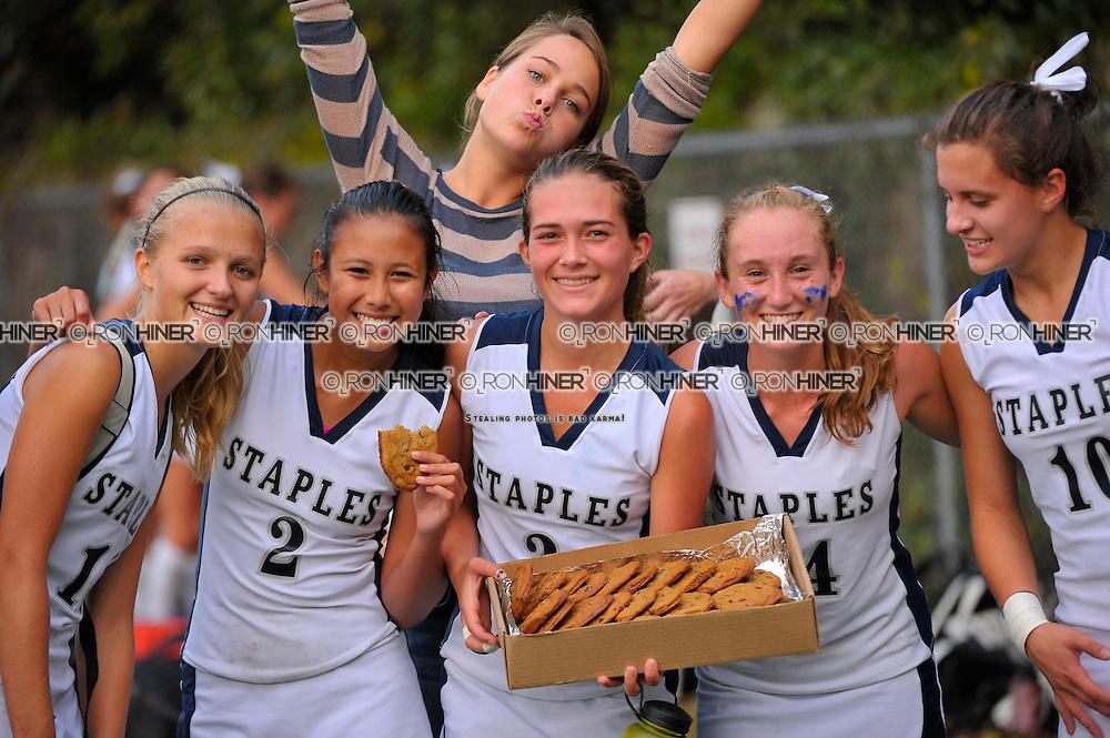 Staples High School Field Hockey..Staples defeats Fairfield Ludlow 6-1.Megan O'Shea .Sami Bautista.Shelby Phares.Callie Hiner (SR)(C).Caroline Howe (SR).Blaney Rotanz (SR)(C)