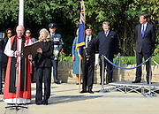 © licensed to London News Pictures. CARTERTON, UK.  01/09/11.David Cameron. A ceremony, attended by British Prime Minister David Cameron,  takes place at The Memorial Garden at Norton Way in Carterton, Oxfordshire today (01 Sept 2011). The Garden will become the focal point during the repatriation of UK service personnel from RAF Brize Norton. The Union Flag that used to fly at repatriations in Wooton Bassett was handed over and was blessed. . Mandatory Credit Stephen Simpson/LNP