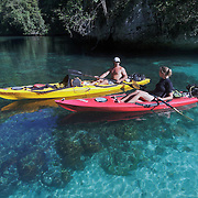 One of the advantages of navigating the Rock Islands of Palau in kayaks is the ability to visit very shallow areas and look straight down at coral, fish and other marine life