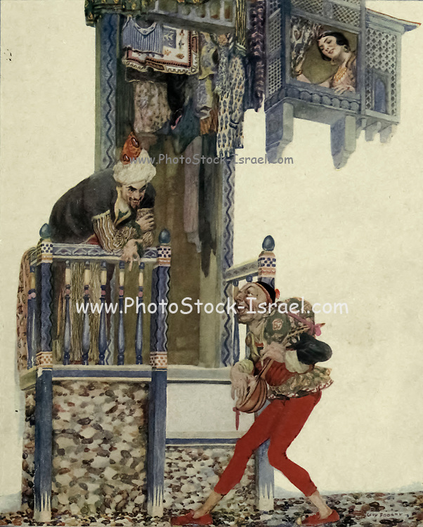 The Hunchback Walked Along Singing Merrily. Colour illustration of The story of the Hunchback from the book '  More tales from the Arabian nights, based on the translation from the Arabic ' by Edward William Lane and Frances Jenkins Olcott, Publisher New York, H. Holt and company 1915