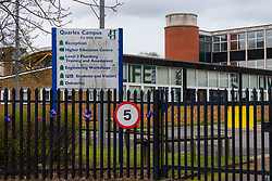 Havering College of Further and Higher Education in Tring Gardens, Harold Hill, Romford, where a student was brought after being stabbed in the  neck. London, March 19 2019.