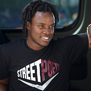 The Street Poets, Inc van headed to a cafe in Los Angeles where they provided the chance for the public to recite their own poetry after reading a prompt. The art non-profit attempts to seek peace and bridge relations between people and communities through their poetry outreach.