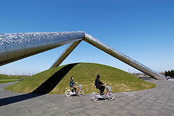 Modern art installation called Tetra Mound at Moerenuma Park in Sapporo Japan