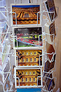 Picture postcards in display rack, Bath