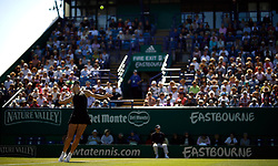 Denmark's Caroline Wozniacki on Centre Court during day four of the Nature Valley International at Devonshire Park, Eastbourne.