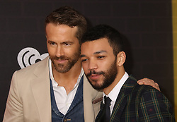 May 2, 2019 - New York City, New York, U.S. - Actors RYAN REYNOLDS and JUSTICE SMITH attend the US premiere of Pokemon Detective Pikachu held at Military Island Times Square. (Credit Image: © Nancy Kaszerman/ZUMA Wire)
