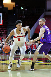 NORMAL, IL - January 05: Zach Copeland slips past the 3 point arc and Shea Feehan during a college basketball game between the ISU Redbirds and the University of Evansville Purple Aces on January 05 2019 at Redbird Arena in Normal, IL. (Photo by Alan Look)