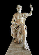 Roman colossal seated staue of Augustus Caesar, white marble, late first century B.C, inv 6040, Naples National Archaeological Museum, black background ..<br /> <br /> If you prefer to buy from our ALAMY STOCK LIBRARY page at https://www.alamy.com/portfolio/paul-williams-funkystock/greco-roman-sculptures.html . Type -    Naples    - into LOWER SEARCH WITHIN GALLERY box - Refine search by adding a subject, place, background colour, etc.<br /> <br /> Visit our ROMAN WORLD PHOTO COLLECTIONS for more photos to download or buy as wall art prints https://funkystock.photoshelter.com/gallery-collection/The-Romans-Art-Artefacts-Antiquities-Historic-Sites-Pictures-Images/C0000r2uLJJo9_s0