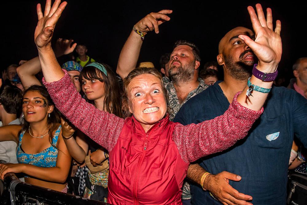 Henham Park, Suffolk, 20 July 2019. Underworld play the obelisk stage.  The 2019 Latitude Festival.