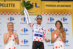 July 28, 2018 - Espelette, FRANCE - French Julian Alaphilippe of Quick-Step Floors celebrates on the podium in the red polka-dot jersey for best climber after the 20th stage of the 105th edition of the Tour de France cycling race, a 31km individual time trial from Saint-Pee-sur-Nivelle to Espelette, France, Saturday 28 July 2018. This year's Tour de France takes place from July 7th to July 29th. BELGA PHOTO DAVID STOCKMAN (Credit Image: © David Stockman/Belga via ZUMA Press)