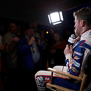 Driver Dale Earnhardt Jr. speaks with the media during the NASCAR Media Day event at Daytona International Speedway on Thursday, February 14, 2013 in Daytona Beach, Florida.  (AP Photo/Alex Menendez)