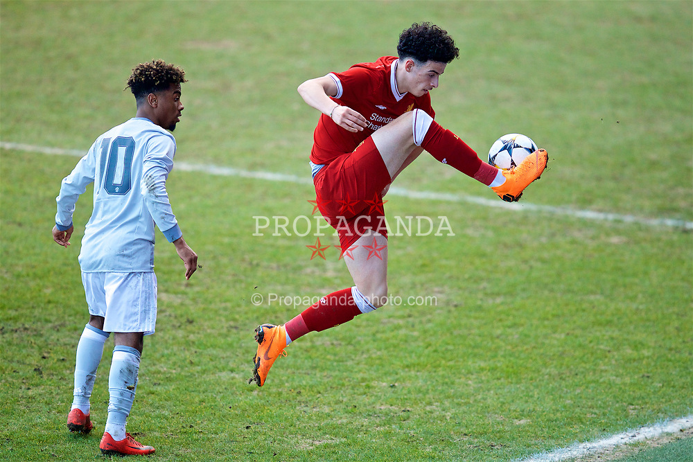 BIRKENHEAD, ENGLAND - Wednesday, February 21, 2018: Liverpool's Curtis Jones during the UEFA Youth League Quarter-Final match between Liverpool FC and Manchester United FC at Prenton Park. (Pic by David Rawcliffe/Propaganda)