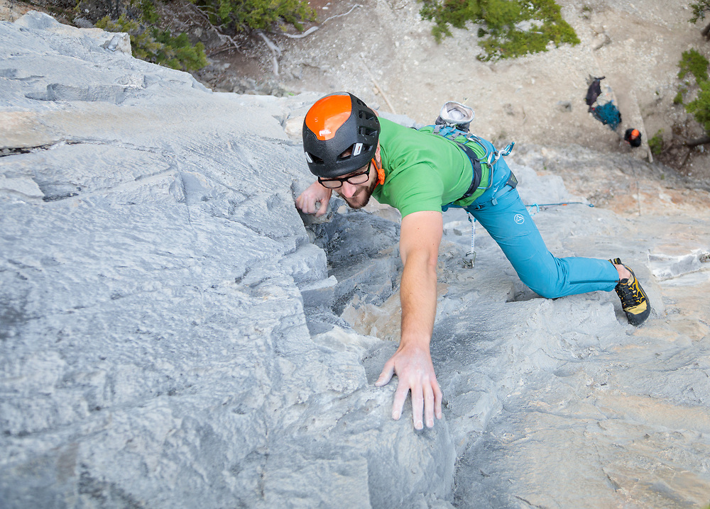 Jas Fauteux leading Grip Profile, 5.11d at Bataan, Canmore, Alberta