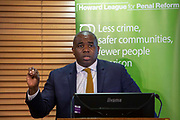David Lammy, Labour MP for Tottenham and  speaking at the Howard League For Penal Reforms 'Policing the community' conference held at the Kings fund. 14th November 2018.