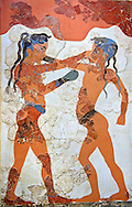 """Minoan Fresco wall painting of """" Boxing Youths""""  from Minoan Bronze Age settlement  of Akrotiri on the Greek island of Thira, Santorini, Greece. . Athens Archaeological Museum. .<br /> <br /> If you prefer to buy from our ALAMY PHOTO LIBRARY  Collection visit : https://www.alamy.com/portfolio/paul-williams-funkystock/minoan-art-artefacts.html . Type -   Athens    - into the LOWER SEARCH WITHIN GALLERY box. Refine search by adding background colour, place, museum etc<br /> <br /> Visit our MINOAN ART PHOTO COLLECTIONS for more photos to download  as wall art prints https://funkystock.photoshelter.com/gallery-collection/Ancient-Minoans-Art-Artefacts-Antiquities-Historic-Places-Pictures-Images-of/C0000ricT2SU_M9w"""