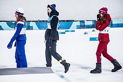 February 13, 2018 - Stockholm, Sweden - OS 2018 i Pyeongchang. Sprint, damer. Stina Nilsson, längdskidÃ¥kare Sverige, vann, Majken Kaspersen Falla, Norge, kom tvÃ¥a och Julia Belorukova, Ryssland, kom trea.. tävling action landslaget guld (Credit Image: © Orre Pontus/Aftonbladet/IBL via ZUMA Wire)