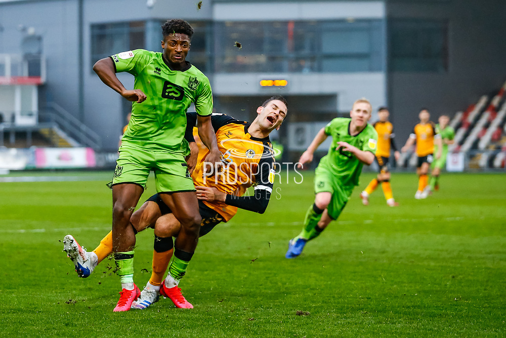 Port Vale's Devante Rodney (21) in action during the EFL Sky Bet League 2 match between Newport County and Port Vale at Rodney Parade, Newport, Wales on 21 November 2020.