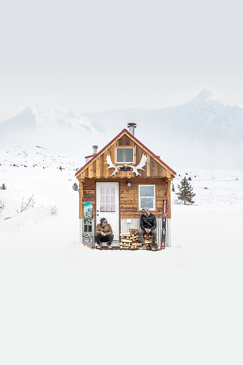 A tiny home in the wilderness of Southern Alaska, waiting on the weather to clear. This photo was used on the cover of Sweet and Sour, a snowboard and ski movie starring Victor De Le Rue and Richard Permin.