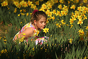 A child plays in the garden, at Memphis Botanic Gardens.