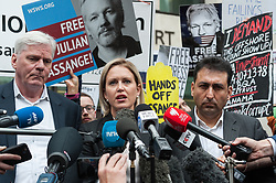 May 2, 2019 - London, England, United Kingdom - WikiLeaks editor KRISTINN HRAFNSSON (L) and JENNIFER ROBINSON, Julian Assange's UK lawyer (C) give a statement outside Westminster Magistrate's Court where the hearing on the US extradition request of the WikiLeaks founder over conspiracy with Chelsea Manning in obtaining and publishing the Iraq War Logs. Yesterday, Julian Assange was sentenced by Southwark Crown Court to 50 weeks in prison for breaching bail conditions whilst seeking and obtaining political asylum at the Ecuadorian Embassy in London. (Credit Image: © Wiktor Szymanowicz/NurPhoto via ZUMA Press)