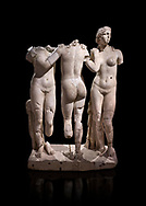 Roman statue of The Three Graces. Marble. Perge. 2nd century AD. Inv no 17.29.81. Antalya Archaeology Museum; Turkey. Against a black background.<br /> <br /> The Three Graces iRoamn statue is of the mythological three charites, daughters of Zeus,  Euphrosyne, Aglaea and Thalia , who were said to represent youth/beauty (Thalia), mirth (Euphrosyne), and elegance (Aglaea). .<br /> <br /> If you prefer to buy from our ALAMY STOCK LIBRARY page at https://www.alamy.com/portfolio/paul-williams-funkystock/greco-roman-sculptures.html . Type -    Antalya     - into LOWER SEARCH WITHIN GALLERY box - Refine search by adding a subject, place, background colour, museum etc.<br /> <br /> Visit our ROMAN WORLD PHOTO COLLECTIONS for more photos to download or buy as wall art prints https://funkystock.photoshelter.com/gallery-collection/The-Romans-Art-Artefacts-Antiquities-Historic-Sites-Pictures-Images/C0000r2uLJJo9_s0