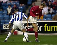 Kilmarnock v Rangers, Scottish Premier League, Rugby Park, <br />Pic Ian Stewart,  Wednesday, 11/4/2001<br />Flo gets better of Chrius Innes before scoring firat goaol, Tore Andre Flo.