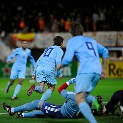 17-11-2009 VOETBAL: JONG ORANJE - JONG SPANJE: ROTTERDAM<br /> Nederland wint met 2-1 van Spanje / Erik Falkenburg loopt juichend weg als hij de 1-0 scoort<br /> ©2009-WWW.FOTOHOOGENDOORN.NL