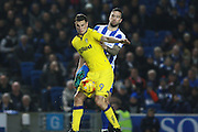 Leeds United striker (and former Brighton player) Chris Wood (9) & Brighton & Hove Albion central defender Shane Duffy during the EFL Sky Bet Championship match between Brighton and Hove Albion and Leeds United at the American Express Community Stadium, Brighton and Hove, England on 9 December 2016. Photo by Bennett Dean.