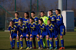ZENICA, BOSNIA AND HERZEGOVINA - Tuesday, November 28, 2017: Bosnia and Herzegovina players line-up for a team group photograph before the FIFA Women's World Cup 2019 Qualifying Round Group 1 match between Bosnia and Herzegovina and Wales at the FF BH Football Training Centre. Back row L-R: Antonela Radeljić, Alma Kamerić, Amela Kršo, goalkeeper Almina Hodžić, Melisa Hasanbegović, Milena Nikolić. Front row L-R: Aida Hadžić, captain Amira Spahić, Marija Aleksić, Dajana Spasojević, Lidija Kuliš. (Pic by David Rawcliffe/Propaganda)