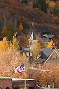 Buildings and American Flag seen in Park City, Utah, United States of America