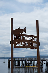 North America, United States, Washington, Port Townsend. Sign at harbor.