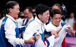 JAKARTA, Aug. 24,2018  Tang Chia-Hung of Chinese Taipei celebrates with coaches after the Artistic Gymnastics Men's Horizontal Bar Final at the Asian Games 2018 in Jakarta, Indonesia on Aug. 24, 2018. (Credit Image: © Wang Lili/Xinhua via ZUMA Wire)