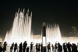 View at night of Dubai Fountain at the Dubai Mall in Downtown Dubai United Arab Emirates