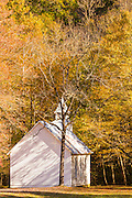 The Palmer Chapel in the Cataloochee Valley of the Great Smoky Mountains National Park in Cataloochee, North Carolina.