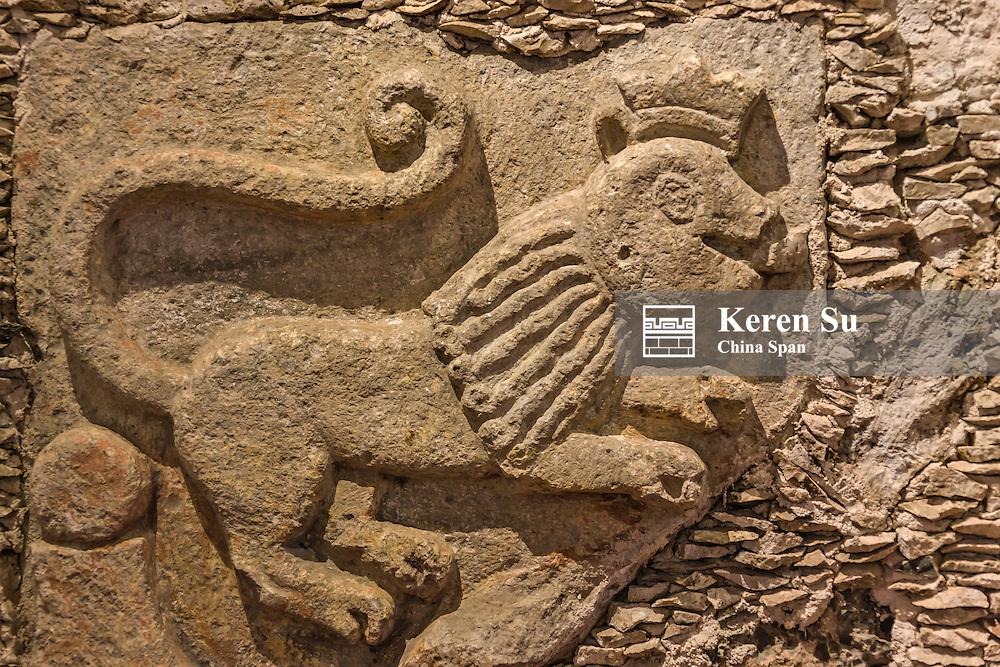 Stone carving at Dzibilchaltun, Mayan ruins near Merida, Yucatan State, Mexico
