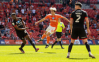 Blackpool's Kenny Dougall scoring his side's first goal <br /> <br /> Photographer Andrew Kearns/CameraSport<br /> <br /> The EFL Sky Bet League One Play-Off Final - Blackpool v Lincoln City - Sunday 30th May 2021 - Wembley Stadium - London<br /> <br /> World Copyright © 2021 CameraSport. All rights reserved. 43 Linden Ave. Countesthorpe. Leicester. England. LE8 5PG - Tel: +44 (0) 116 277 4147 - admin@camerasport.com - www.camerasport.com