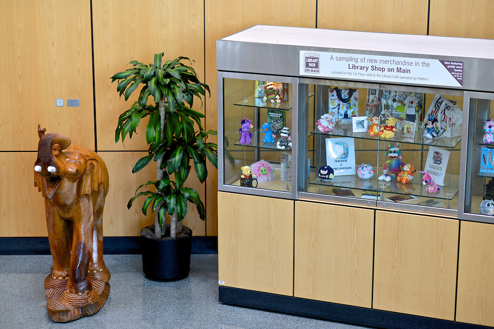 Glass display case of the Library Shop on Main.