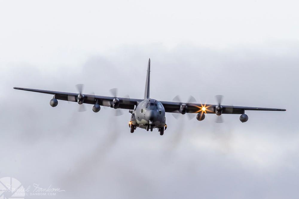 Lockheed C-130 Hercules, on approach to MRY, Monterey, California