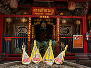 26 AUGUST 2014 - BANGKOK, THAILAND:  Entrance to the Gong Wu Shrine in Bangkok. Gong Wu is an ancient shrine dating back over 270 years and is located on the Thonburi side of the Chao Praya River in Somdet Ya (Princess Mother Community), Khlong San area of Bangkok. The first of the 3 Gong Wu statues was brought to Thailand around 1736 by Hokkien Chinese traders. On site there are 3 primary temple buildings of various ages.   PHOTO BY JACK KURTZ
