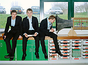 Team Momentus from The Gryphon School in Dorset: (from left) Tom Long, 19, Matthew Bugler,18, and Nathan Riley,17, explore the aerodynamics of their F1 car with their home-made computer-controlled wind tunnel. <br /> <br /> Racing model cars made of balsa wood, finding big money sponsorship and solving Tricky physics problems are all in a day's work for the children taking part in the global F1 in schools project. A technology challenge in which children use computers to design, test and build miniature Formula 1 cars