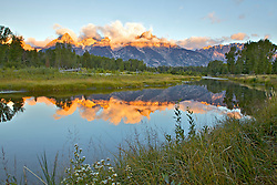 """Shwabackers Landing Reflecton Sunrise, Jackson Hole, Grand Teton National Park, Wyoming<br /> <br /> For production prints or stock photos click the Purchase Print/License Photo Button in upper Right; for Fine Art """"Custom Prints"""" contact Daryl - 208-709-3250 or dh@greater-yellowstone.com"""