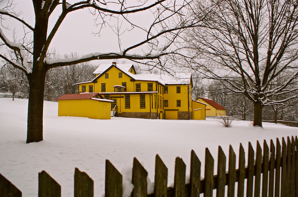 Berks County Pennsylvania winter snow Heritage Center, Gruber Wagon Works